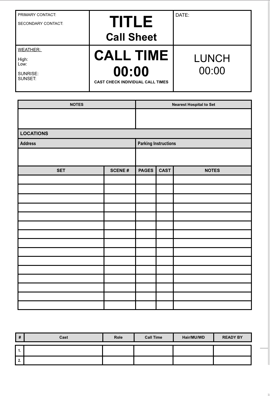 How to Make a Call Sheet – The Sharpen Experiment